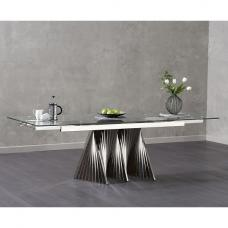 Kelson Extendable Glass Dining Table With Stainless Steel Base