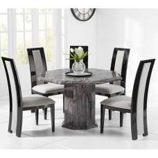 Kempton Grey Marble Dining Table Octagonal And 4 Allie Chairs