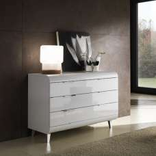 Kenia Modern Chest Of Drawers Wide In White High Gloss