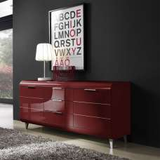 Kenia Modern Sideboard In Red High Gloss With 2 Doors