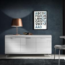 Kenia Contemporary Sideboard In White High Gloss With 3 Doors