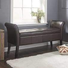 Keswick Ottaman Seat In Brown Faux Leather With Dark Legs