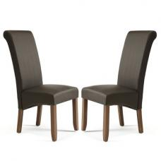 Ameera Dining Chair In Brown Faux Leather And Walnut in A Pair