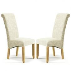 Ameera Dining Chair In Floral Cream Fabric And Oak in A Pair