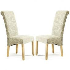 Ameera Dining Chair In Floral Sage Fabric And Oak in A Pair