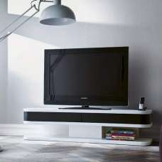 Kontur TV Stand In White With Black Contrast And 2 Drawers