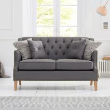 Kosmo 2 Seater Sofa In Grey Fabric With Natural Ash Legs