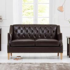 Kosmo 2 Seater Sofa In Brown Leather With Natural Ash Legs