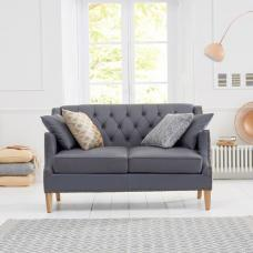 Kosmo 2 Seater Sofa In Grey Leather With Natural Ash Legs