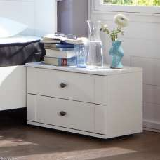 Krefeld Wooden Bedside Cabinet In White With 2 Drawers