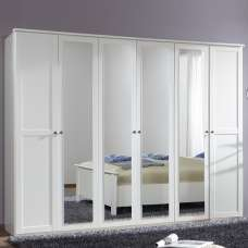 Krefeld Mirrored Wardrobe Extra Large In White With 6 Doors