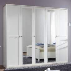 Krefeld Mirrored Wardrobe Large In White With 5 Doors
