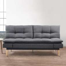 Krevia Faric Sofa Bed In Grey With Wooden Legs
