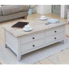 Krista Wooden Coffee Table In Grey With Flip Top And 4 Drawers
