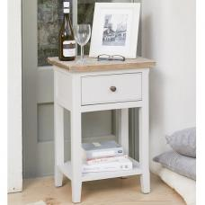 Krista Wooden Lamp Table In Grey With 1 Drawer