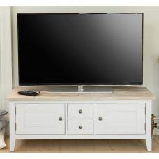 Krista Wooden TV Stand In Grey With 2 Doors And 2 Drawers