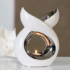 Lago Aroma Burner Tealight Candle In White And Silver