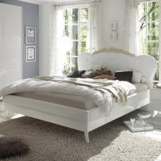Lagos Super King Bed In High Gloss White With PU Headboard