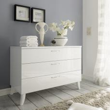 Lagos Chest Of Drawers In High Gloss White With 3 Drawers