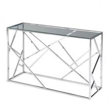 Lamont Glass Console Table With Polished Stainless Steel Frame