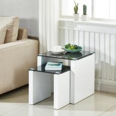 Larus Nesting Tables In Black Glass And White High Gloss Base
