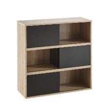 Lasse Square Bookcase In Oak With 3 Sliding Doors In Black