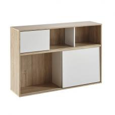 Lasse Wooden Bookcase In Oak With 2 Sliding Doors In White
