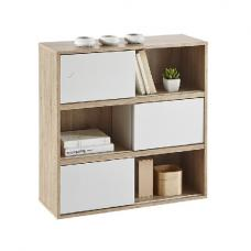 Lasse Square Bookcase In Oak With 3 Sliding Doors In White