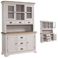 Leanne Display Cabinet In Stone Washed White With Three Doors