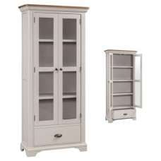 Leanne Display Cabinet In Stone Washed White With Two Doors