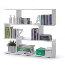 Legacy Stylish Wide Bookcase In High Gloss White With 3 Tiers