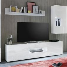 Leon TV Stand In White High Gloss With LED Lighting
