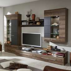 Lerida Living Room Furniture Set In Monastary Oak With LED
