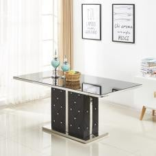 Levo Glass Dining Table Black And Faux Leather Base Rhinestones