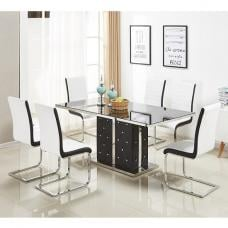 Levo Glass Dining Table In Black PU And 6 Symphony White Chairs