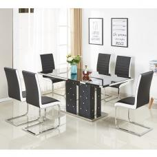Levo Glass Dining Table In Black PU And 6 Symphony Chairs