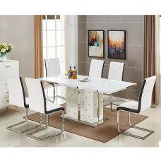 Levo Glass Dining Table In White PU With 6 Symphony Chairs