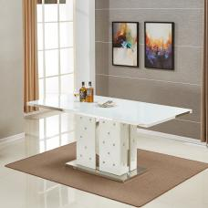 Levo Glass Dining Table White And Faux Leather Base Rhinestones