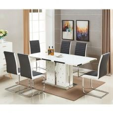 Levo Glass Dining Table In White PU And 6 Symphony Black Chairs