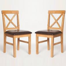 Lexington Wooden Dining Chair With Dark PU Seat In A Pair