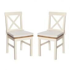Lexington Wooden Dining Chair In Ivory With Seat Pad In A Pair