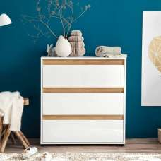 Leyton Chest Of Drawers In White High Gloss Fronts And Oak