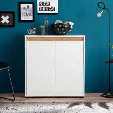 Leyton Compact Sideboard In White With High Gloss Front And Oak