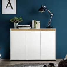 Leyton Modern Sideboard In White With High Gloss Fronts And Oak