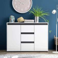 Leyton Sideboard In White With High Gloss Fronts And Grey
