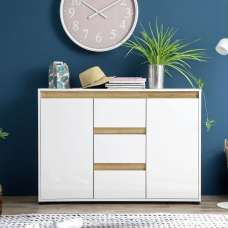 Leyton Sideboard In White With High Gloss Fronts And Oak
