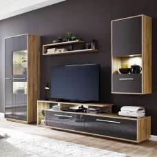 Liona Living Room Set 1 In Glossy Grey And Rustic Oak And LED