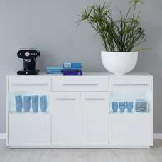 Liona Modern Sideboard In White With Gloss Fronts And LED