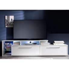 Liona TV Stand In White With Gloss Fronts And LED Lighting