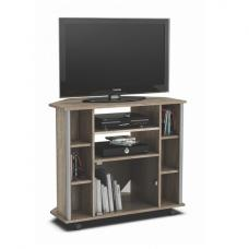 Lisbon Corner Hifi Stand In Monument Oak With 4 Castors